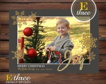 Christmas Photo Card - Gold and Gray Holiday Card - Gold Glitter - Joy and Snowflakes Christmas Card - Picture Holiday card