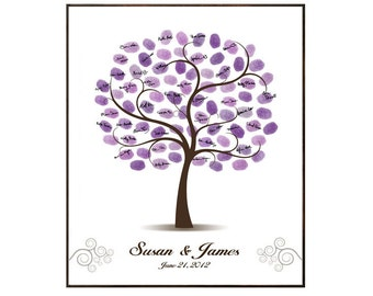 Wedding Tree Guest Book, Wedding Guest Book Purple Wedding Fingerprint Guestbook Thumbprint and Signature Tree - DIGITAL PRINTABLE JPEG
