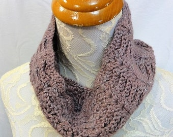 mauve-lavender baby llama cowl with sparkle hand dyed
