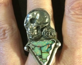 Sterling Silver 925, White Copper, and Cultured Monarch Opal Skull Ring size 8