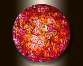 Red Roses Flower Oil Painting Textured Palette Knife Floral Modern Original Art 24-Inch Round Canvas by Willson