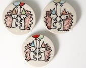 Hedgehog Party Magnet Handmade Ceramic Refrigerator Magnet Hedgehog Illustration Animal themed Pottery Cute Magnets Small Gifts Under 10
