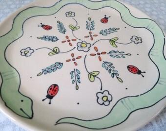 Animal Themed Ceramics Handmade Dinner Plate Wheel Thrown Pottery Ladybug Illustration Snake Themed Pottery Floral Pattern Dinner Plate