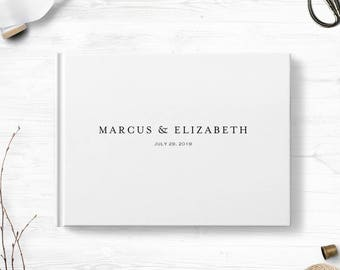 White wedding guest book, Landscape or Portrait, Wedding guest book, Various colors