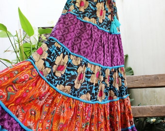 ARIEL on Earth - Patchwork Floral Printed Cotton Long Tiered Skirt - SST1701-04