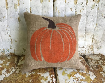 FALL HALLOWEEN PUMPKIN Fun Painted Burlap Throw Accent Pillow Home Decor