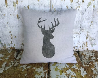 Farm DEER Pillow / Square Cotton Farmhouse Style Vintage Printed Throw Pillow / Farmhouse Cottage Rustic Home Decor