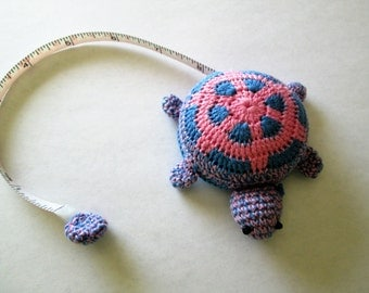 Tape measure, turtle, crocheted, blue and pink