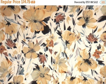 ON SALE Golden Beige Romantic Floral Print Stretch Cotton Sateen Fabric--By the Yard