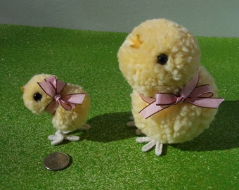 Springtime Easter pair of chicks pom pom dolls