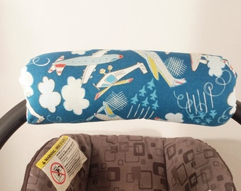 Infant Car Seat Handle Cover - Car Seat ARM PAD - Reversible - Airplanes and Clouds
