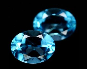 TOPAZ (32637)  * * * PAIR ( 2 Gems) Strong Swiss Blue 8 x 6mm Topaz -  Faceted Gems