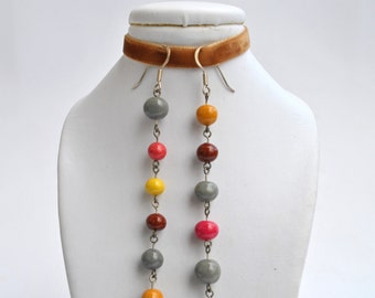 Handpainted elegant earrings 'bubbles' (ready to ship)
