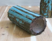Candle Stand Large Wood Distressed  Blue Candle Holder Antique Indian Column Part Naturally Distressed Patina Architectural Element