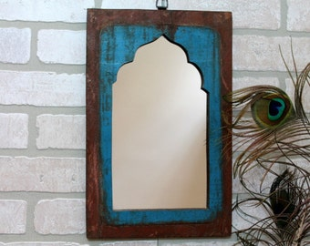 Mirror Reclaimed Vintage Indian Door Panel Wall Hanging Art Distressed Mirror Moroccan Decor Turkish Bright Blue and Maroon