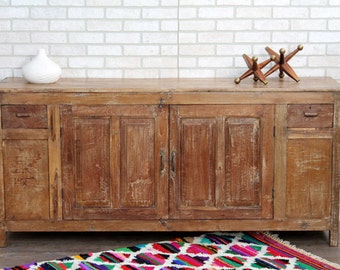Antique Sideboard Reclaimed Buffet Media Console Farm Chic Teak Wood Sideboard TV Stand Double Vanity