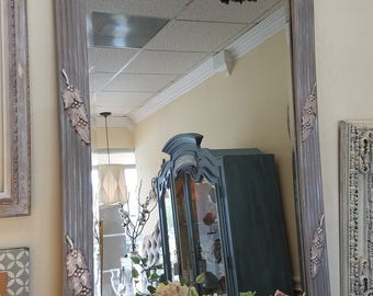 Vintage oversized wood frame mirror hand painted in lavender grey