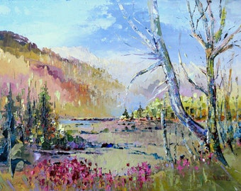 Spring painting, Impressionism painting, oil painting, canadian landscape, palette knife art, forest painting, home deocr, wall art
