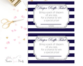 NAVY and SILVER GLITTER Boys Baby Shower Diaper Raffle Ticket,  Baby Sprinkle Diaper Raffle, Printable Diaper Raffle, Baby Shower Insert