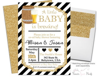Coed Baby Shower Invitation, Baby Brewing Invitations, Gender Neutral Baby  Shower, Baby Brewing