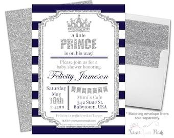 Prince Baby Shower Invitation - Boy Baby Shower Invitation - Royal Prince Baby Shower - Baby Boy Shower - Prince Invite - Royal Invitation