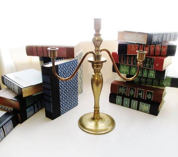 Vintage Brass Candelabra  or Candle Holder, Hollywood Regency, Brass Wedding Decor