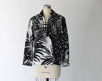 Yves Saint Laurent Rive Gauche Palm Print Blouse // 1980s Vintage YSL Black and White Cotton Lightweight Jacket // Medium
