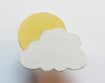 Sun and Cloud Children's Wood Drawer Pull