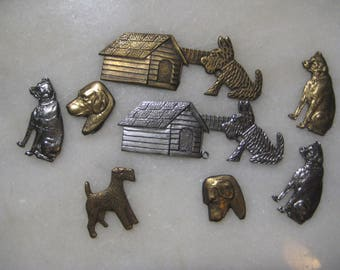 Vintage Dog Stampings, Silver Plate and Brass Jewelry Findings or Decorative Trims, Scrapbooking, Embellishments, Mixed Sizes, 8 Piece Lot