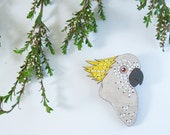 Sulphur-Crested Cockatoo Embroidered Birdie Wearable Art Brooch by Winnifreds Daughter