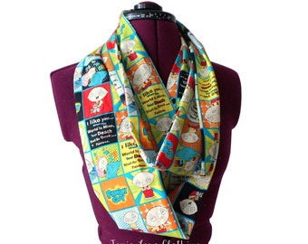 Family Guy Infinity Scarf (2 sizes - child or adult) circle scarf, Family Guy, Peter Griffin, Stewie Griffin, Adult tv show, naughty gift