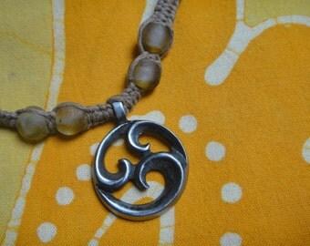Tribal Surfer Recycled Glass African Bead Hemp Necklace Mens Jewelry Gift for Him Koru Maori