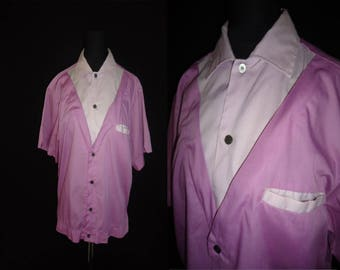 Two Tone Purple Rockabilly Vintage 1950's Women's Bowling Shirt M