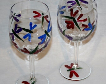 dragonfly wineglass hand painted
