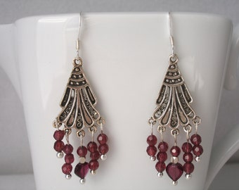 Garnet chandelier earrings, sterling chandelier earrings with garnet beads, January birthstone
