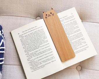 Wood Happy Cat Bookmark