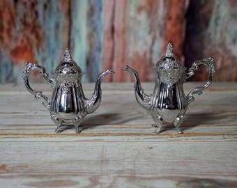 Silverplate Teapot Salt and Pepper