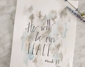 He will be Our Peace 8x10 Original Watercolor Painting Micah 5:5