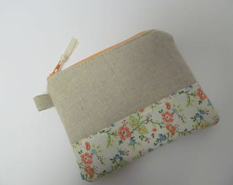 "Zipper Pouch/4""x5""/Linen x Flower x Peach Zipper"