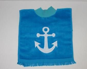 Large Baby Bib, Pullover Bib, Towel Bib, Anchor Bib, Nautical Bib, 12 Colors, Terrycloth Bib, Baby Gift, Baby Boy, Baby Girl, Toddler Bib