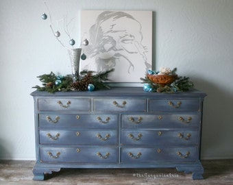 Gorgeous Hand Painted Triple Dresser in Newport Navy