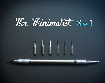 Mr.Minimalist - Ergonomic Ball tool with multiple size heads. 8 in 1 tool for OOAK doll making, sculpting, nail art.