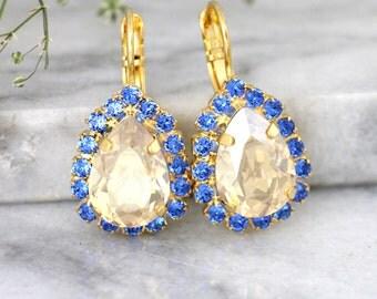 Blue Champagne Earrings, Blue Navy Earrings, Swarovski Bridal Earrings, Something Blue Jewelry, Bridal Earrings, Sapphire Crystal Earrings