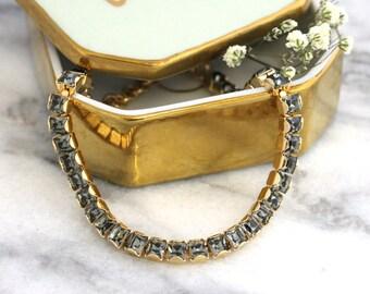 Gray Bracelet, Tennis Bracelet, Bridal Bracelet, Bridal Tennis Bracelet, Swarovski Bracelet, Dark Gary Rose Gold Bracelet, Gift For Her