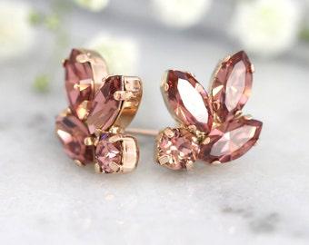 Blush Bridal Earrings, Bridesmaids Blush Earrings, Swarovski Pink blush Earrings,Blush Earrings, Bridal Blush Cluster Crystal Studs Earrings