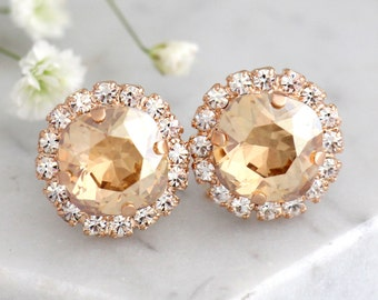 Champagne Earrings, Bridal Champagne Swarovski Earrings, Champagne Crystal Earrings, Bridal Nude Earrings, Bridesmaids Champagne Earrings