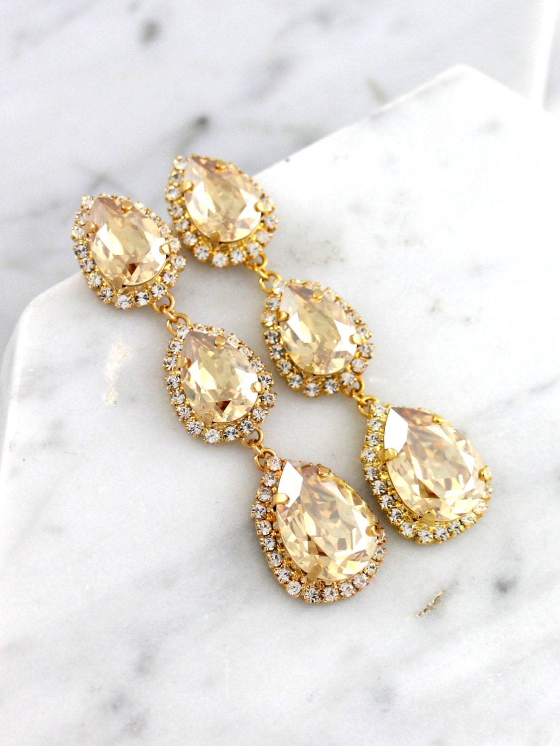 Champagne earrings champagne bridal chandelier earrings for Jewelry for champagne wedding dress