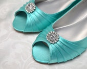 Wedding Wedge Shoes - Custom Colors 250 - Women's PBD101 Bridal Wedge Shoes, Pink2Blue