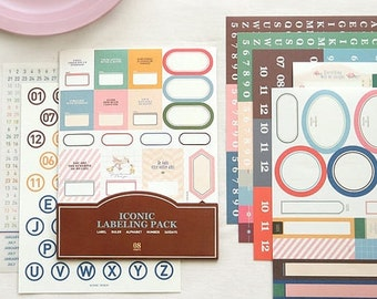 11 Sheets Labeling Pack Pretty Sticker Set - Deco Translucent Sticker Set