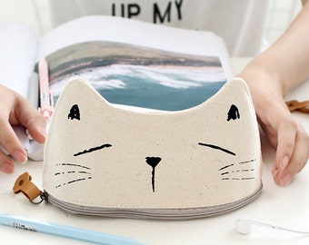 Cute Cat Canvas Fabric Pencil Case -Pencil Pouch Receive Pouch